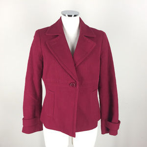 Talbots L 12 P Wine Red Blazer Jacket Career woven